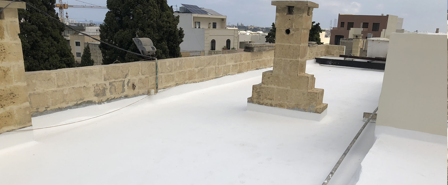 Waterproofing with thermal insulation membrane of 17th century palazzo. AFTER